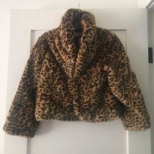 LUCKY BRAND faux fur cropped jacket XS